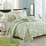 HighBuy 3pcs 100% Cotton Quilted Embroidery Quilts Bedspread Bed Coverlets ...